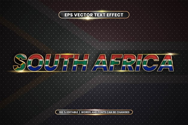 Editable text effect - south africa with its national country flag
