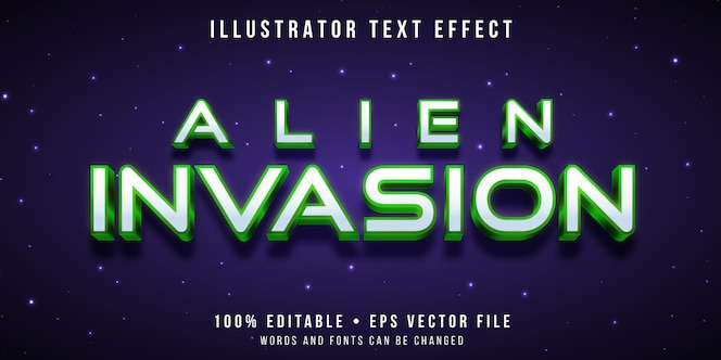 Editable text effect - space alien style