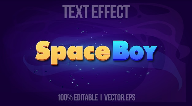 Editable text effect - space boy game logo style