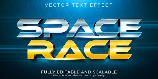Editable text effect space race text style