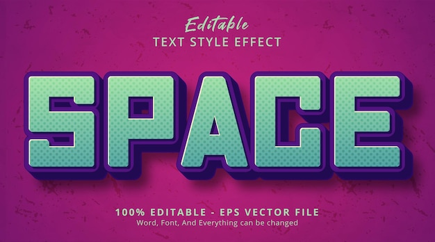 Editable text effect, space text on headline event style effect