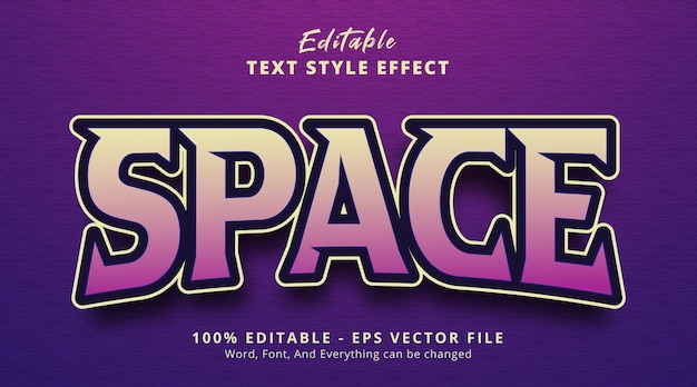 Editable text effect, space text on headline gaming style effect