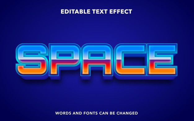 Editable text effect for space
