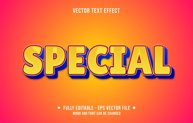 Editable text effect special yellow style