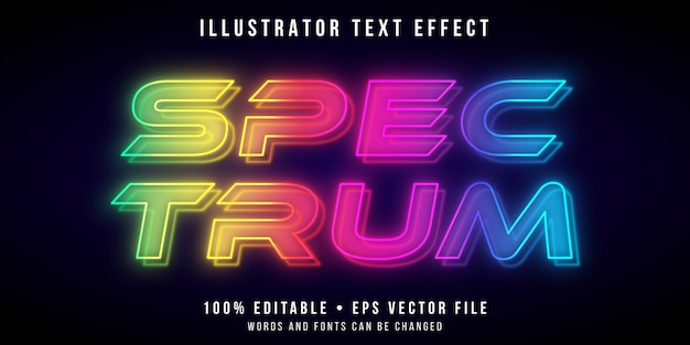 Editable text effect - spectrum neon lights style