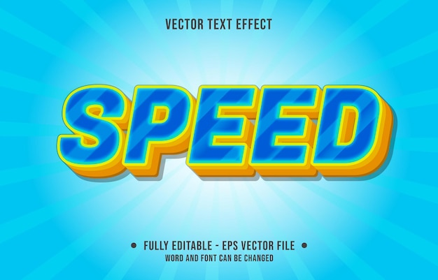 Editable text effect - speed blue and yellow gradient color style
