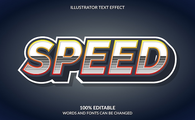 Editable text effect, speed text style