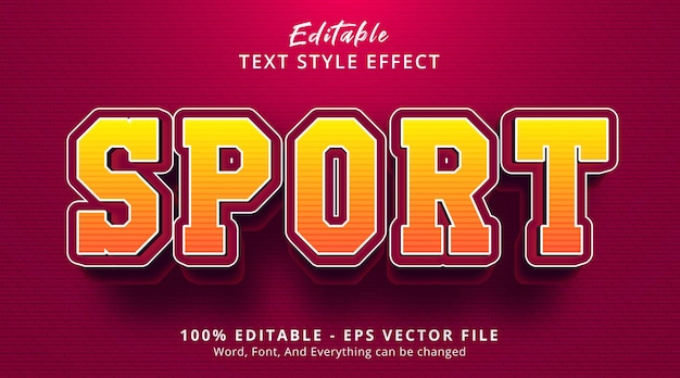 Editable text effect, sport text on cool red color style effect