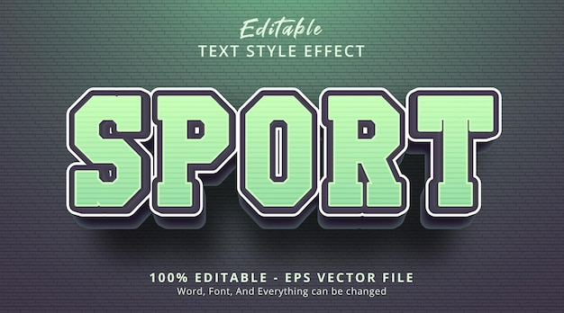 Editable text effect, sport text on green color combination style