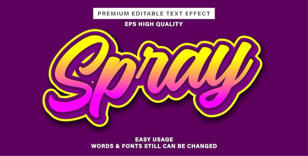 Editable text effect spray
