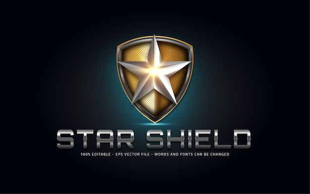 Editable text effect, star shield style illustrations