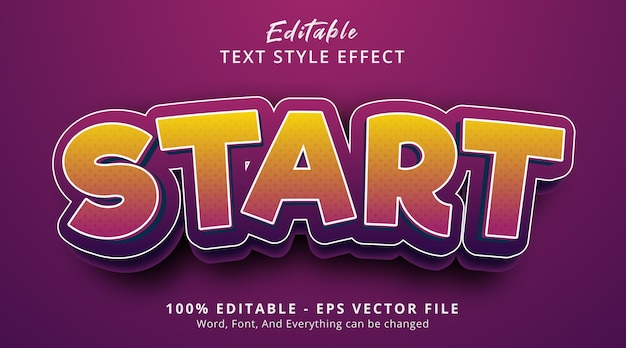 Editable text effect, start text on cartoon style with fancy color