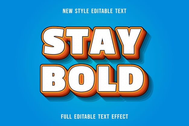 Editable text effect stay bold color yellow and orange