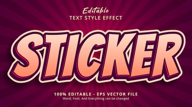 Editable text effect, sticker text on headline poster style effect