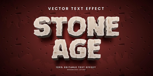 Editable text effect in stone age style premium vector
