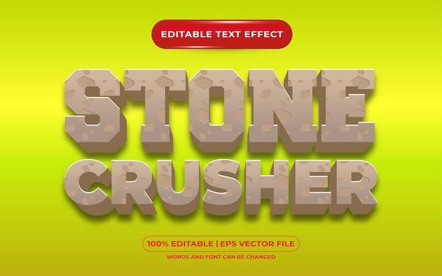 Редактируемый текстовый эффект каменная дробилка мультяшном стиле