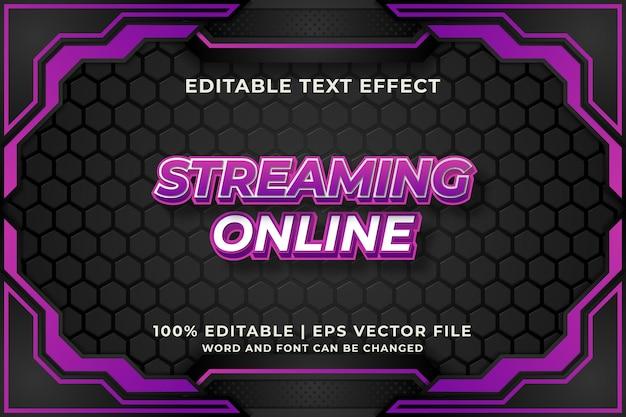 Редактируемый текстовый эффект - шаблон стиля 3d streaming online. премиум векторы