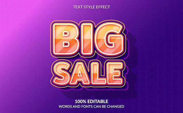 Editable text effect, strong bold big sale text style