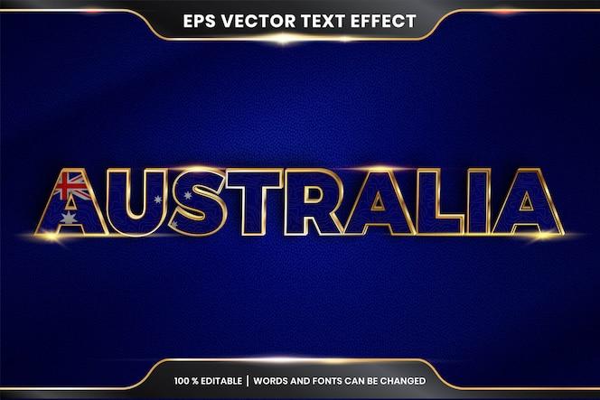 Stile effetto testo modificabile - australia con la sua bandiera nazionale