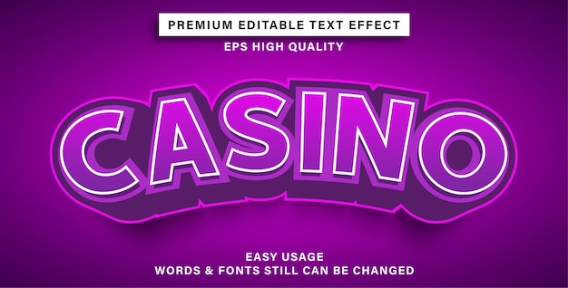 Editable text effect style casino