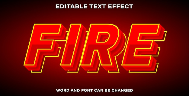 Editable text effect style fire
