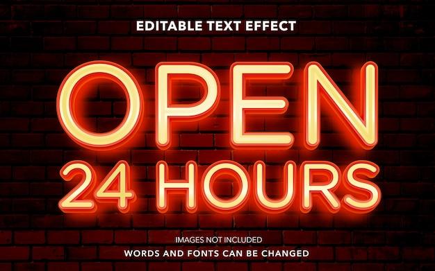 24時間オープンの編集可能なテキスト効果スタイル
