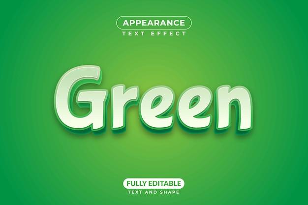 편집 가능한 텍스트 효과 스타일 녹색 모양 타이포그래피 글꼴 스타일