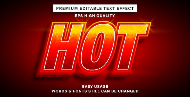 Editable text effect style hot