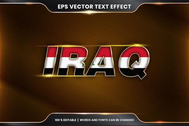 編集可能なテキスト効果スタイル-国旗のあるイラク