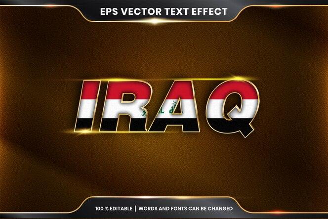 Stile effetto testo modificabile - iraq con la sua bandiera nazionale