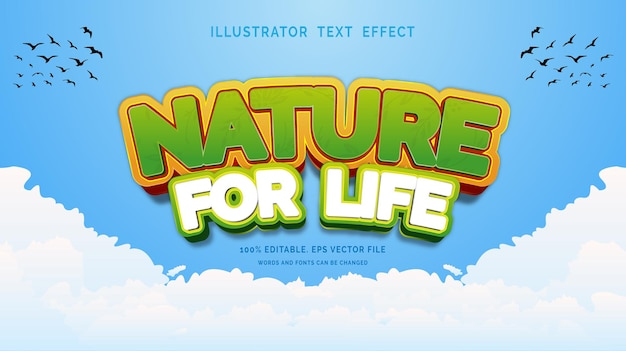Editable text effect style nature for life