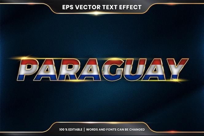 Stile effetto testo modificabile - paraguay con la sua bandiera nazionale
