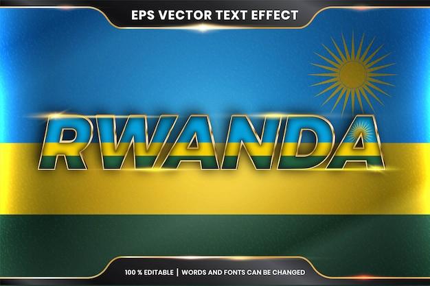Редактируемый стиль с текстовым эффектом - руанда с национальным флагом страны
