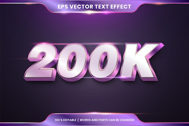 Editable text effect style, silver and purple color concept