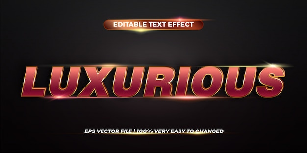 Editable  text effect styles  concept - red gold gradient color of luxurious words