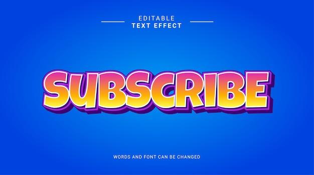 편집 가능한 텍스트 효과 구독 대담한 만화 개념 노란색 보라색 그라데이션 파란색 색상