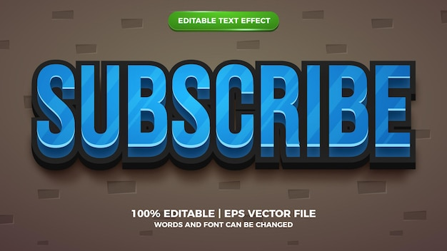 Editable text effect - subscribe cartoon style 3d template