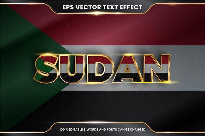 Effetto di testo modificabile - sudan con la sua bandiera nazionale