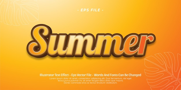 Editable text effect summer 3d style illustrations