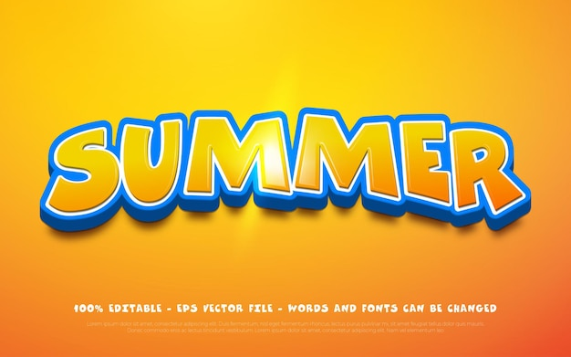 Editable text effect summer 3dr style
