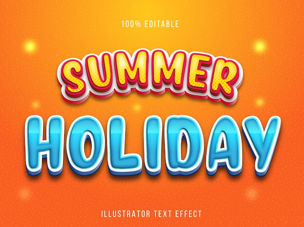 Редактируемый текстовый эффект - стиль заголовка летнего отдыха