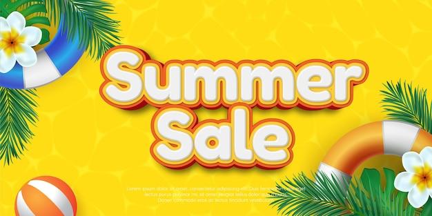 Editable text effect summer sale 3d style illustration