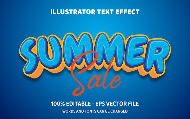 Editable text effect summer sale 3d style illustrations