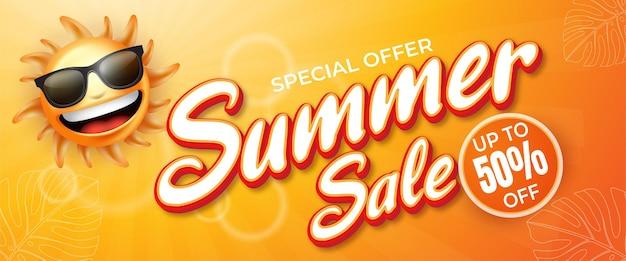 Editable text effect summer sale banner stock illustration