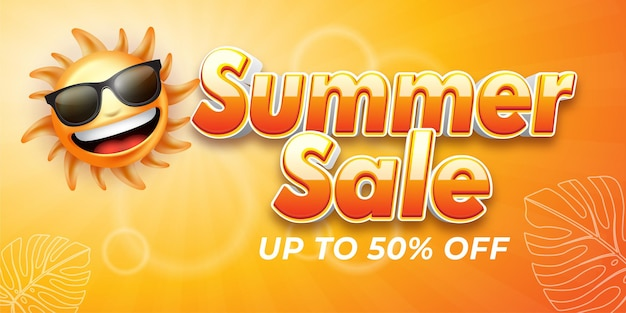 Editable text effect summer sale style illustrations
