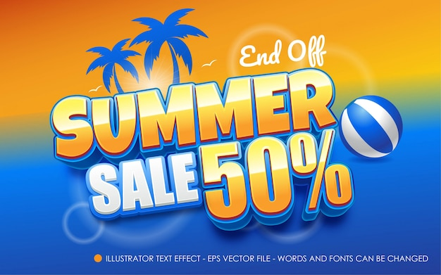 Editable text effect, summer sale style illustrations