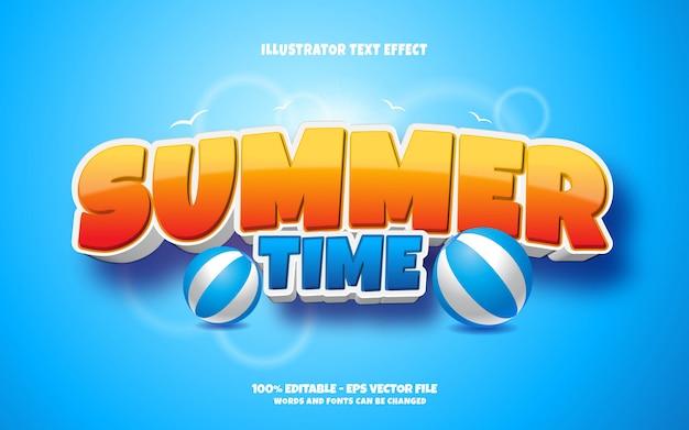 Редактируемый текстовый эффект, иллюстрации в стиле летнего времени