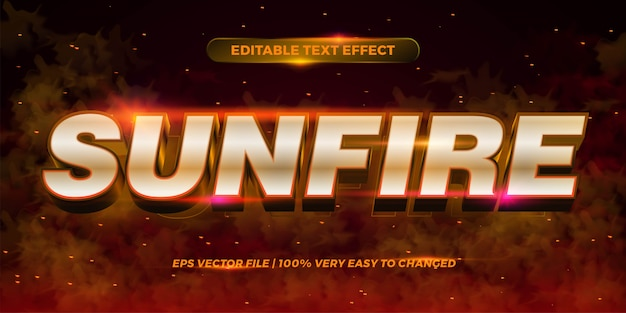 Editable text effect - sun fire words text style  concept smoke background