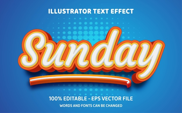 Editable text effect, sunday style illustrations
