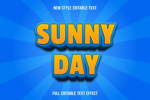 Editable text effect sunny day color yellow and blue